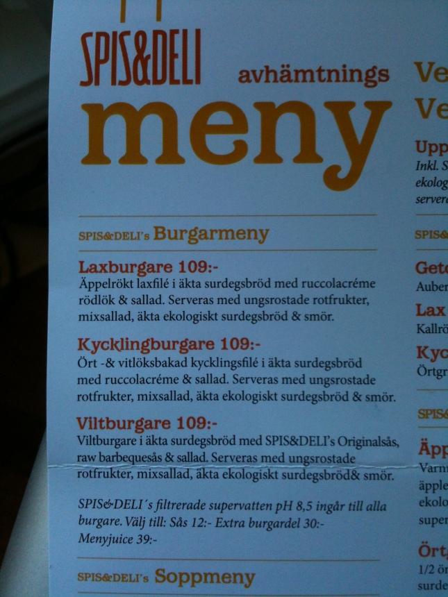 Del av Spis&Deli:s Meny i Varberg.