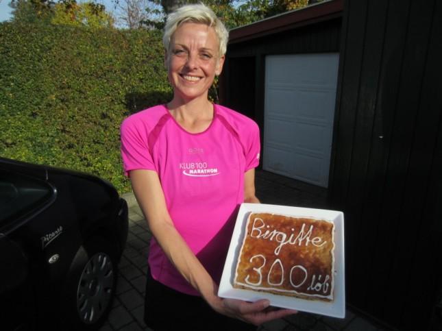 Birgitte när hon sprang sitt 300 maraton för ett par år sedan! Från nätet.