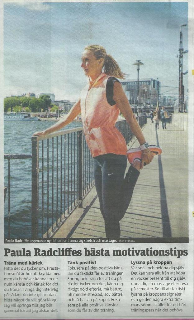 Men stretcha låret kan hon inte! Paula Radcliffe ur Metro häromdan.