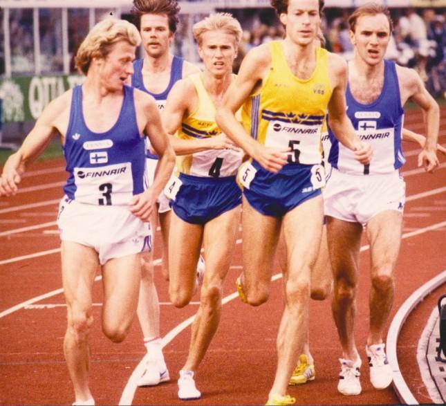 Mats som svensk representant på finnkampen. Vann både 5 & 10 000 m ett år. från